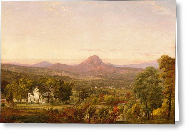 Cropsey Greeting Cards - Autumn Landscape Sugar Loaf Mountain. Orange County  New York Greeting Card by Jasper Francis Cropsey