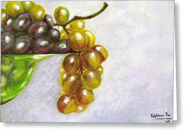 Grapevine Leaf Mixed Media Greeting Cards - Uva Greeting Card by Kathleen Pio
