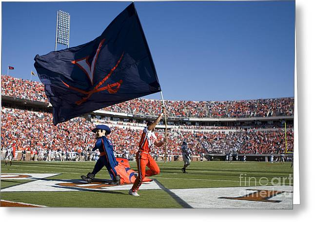 UVA Virginia Cavaliers Football Touchdown Celebration Greeting Card by Jason O Watson