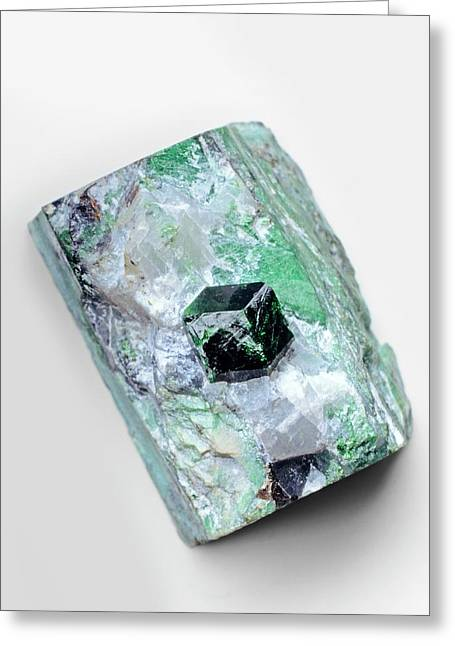 Uvarovite Garnet Crystal In Skarn Matrix Greeting Card by Dorling Kindersley/uig