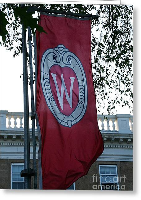 Recently Sold -  - Stepping Stones Greeting Cards - UW Flag Greeting Card by Susan Herber