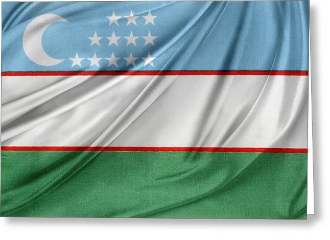 Textile Photographs Greeting Cards - Uzbekistan flag Greeting Card by Les Cunliffe