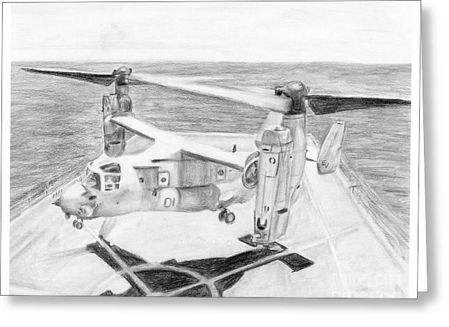 Osprey Drawings Greeting Cards - V-22 Osprey Greeting Card by Sarah Howland-Ludwig