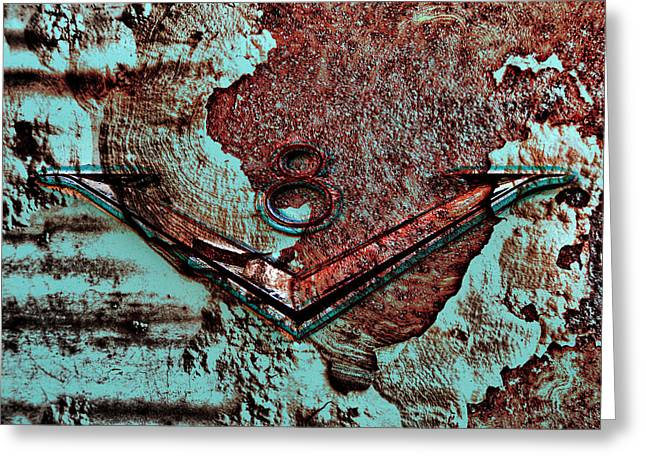 Rusted Cars Digital Art Greeting Cards - V Eight Greeting Card by Greg Sharpe