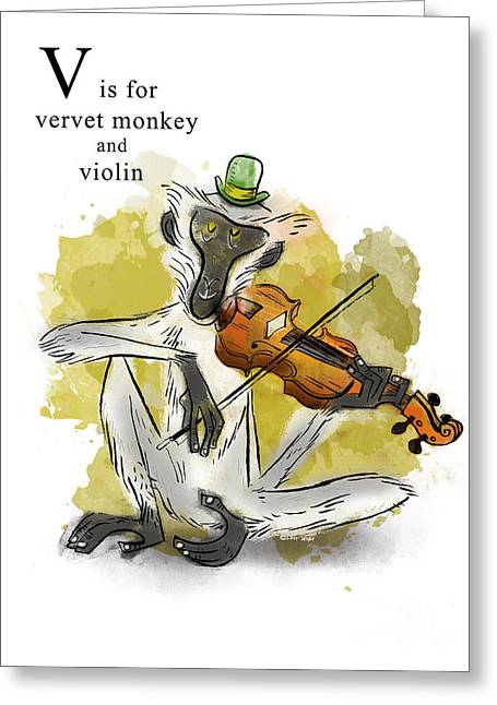 Animal Alphabet Greeting Cards - V is for Vervet Monkey Greeting Card by Sean Hagan