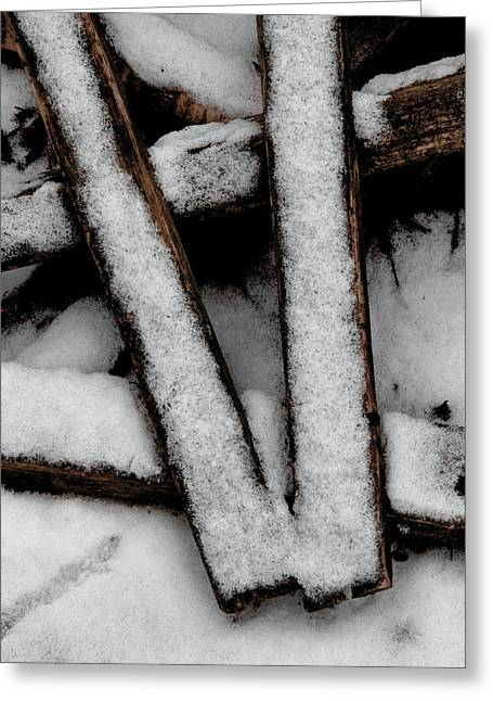 Woodpile Greeting Cards - V Greeting Card by Odd Jeppesen