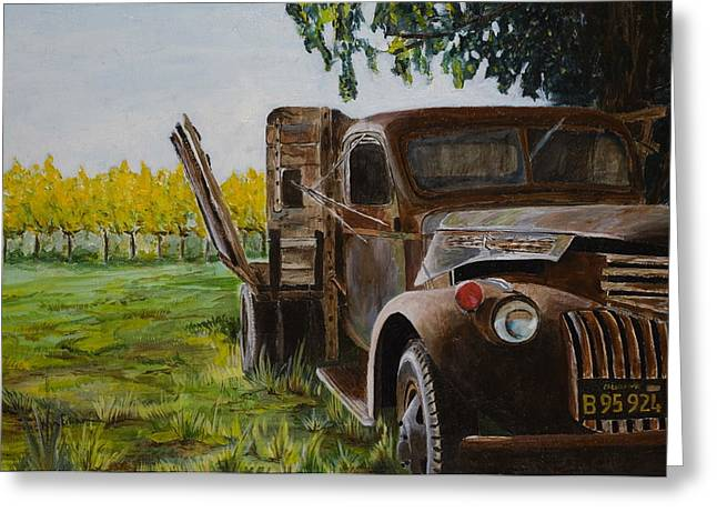 Calistoga Paintings Greeting Cards - V Satuii Napa Valley Greeting Card by Wyn Ericson