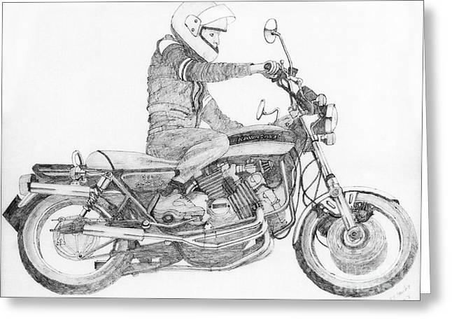 Camshaft Greeting Cards - V8 Kawasaki Greeting Card by Stephen Brooks