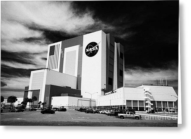 Kennedy Space Center Greeting Cards - vab vehicle assembly building and launch control center Kennedy Space Center Florida Greeting Card by Joe Fox
