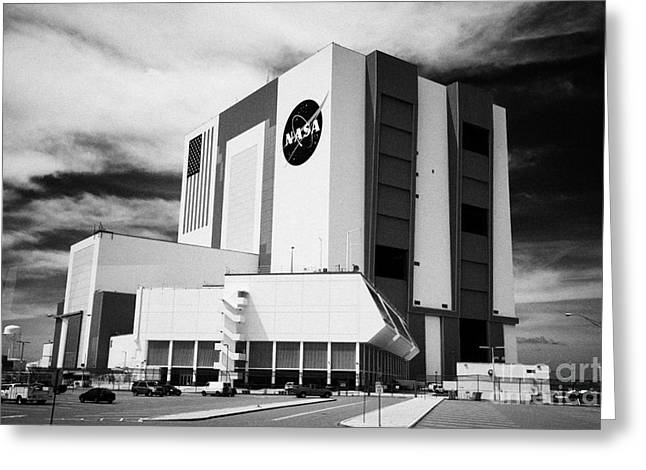 Kennedy Space Center Greeting Cards - vab vehicle assembly building and launch control center Kennedy Space Center Florida USA Greeting Card by Joe Fox