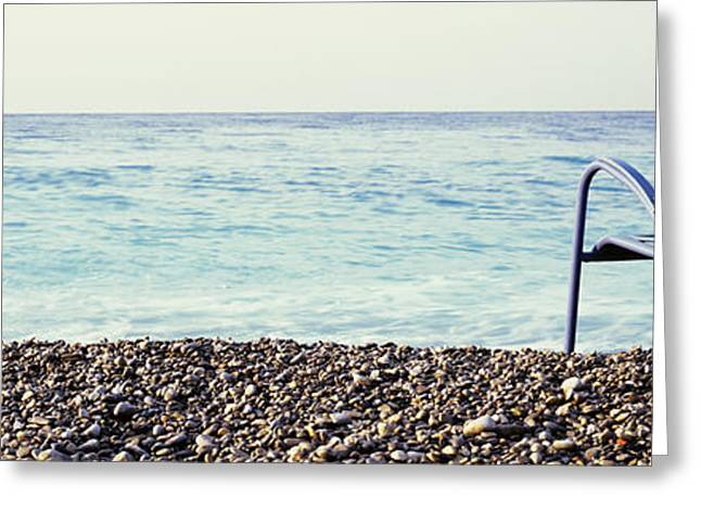 Blue Chairs Greeting Cards - Vacant Chair On The Beach, Nice, Cote Greeting Card by Panoramic Images