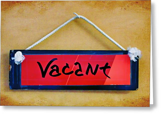 Recently Sold -  - Not In Use Greeting Cards - Vacant Greeting Card by Nikolyn McDonald