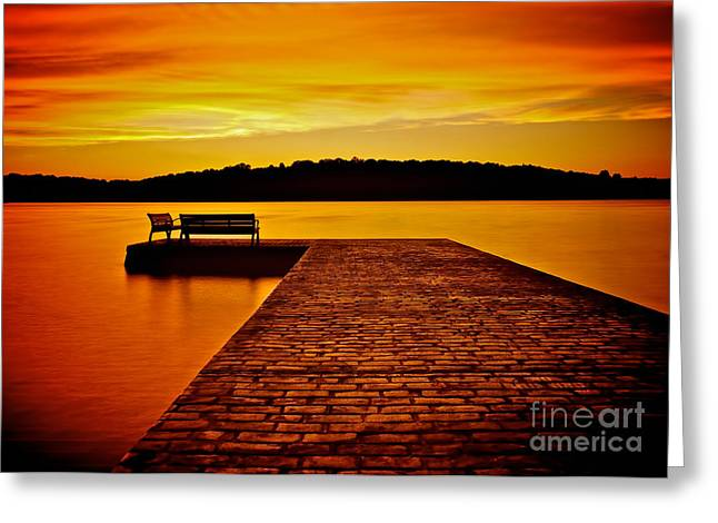 Stone Bench Greeting Cards - Vacant Sunset Greeting Card by Mark Miller
