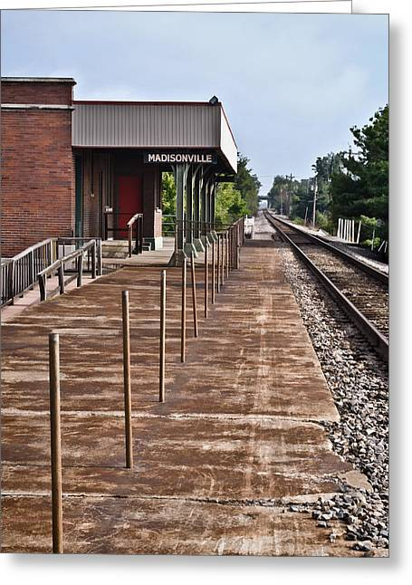 Wooden Platform Greeting Cards - Vacant Train Depot Platform - Madisonville Greeting Card by Greg Jackson