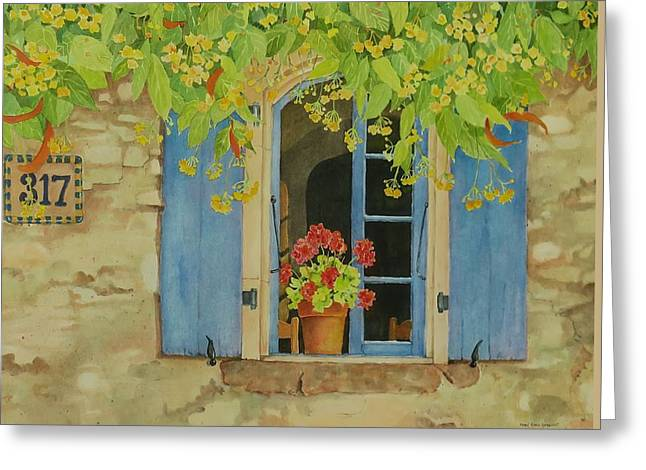 Red Geraniums Greeting Cards - Vacation Memory Greeting Card by Mary Ellen  Mueller Legault