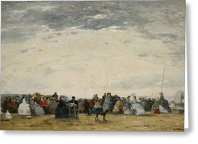 Grey Clouds Greeting Cards - Vacationers on the Beach at Trouville Greeting Card by Eugene Louis Boudin