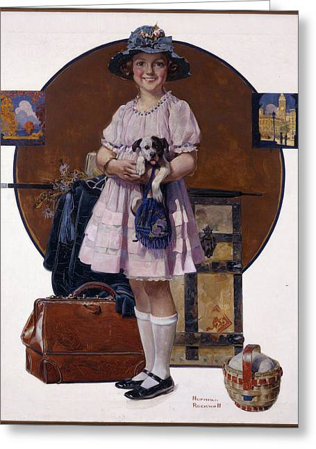 Norman Drawings Greeting Cards - Vacations Over by Norman Rockwell Greeting Card by Nomad Art And  Design