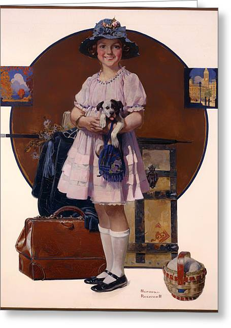 Historical Pictures Paintings Greeting Cards - Vacations Over Greeting Card by Norman Rockwell