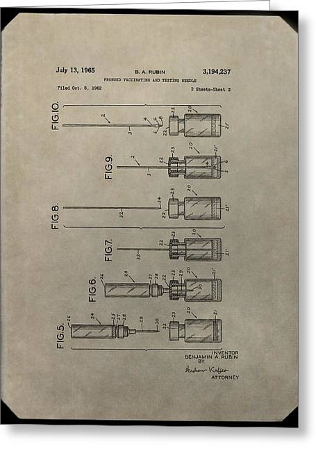 Vaccination Greeting Cards - Vaccinating Needle Patent Greeting Card by Dan Sproul