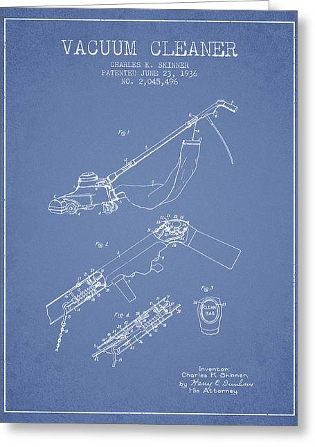 Cleaner Greeting Cards - Vacuum Cleaner patent from 1936 - Light Blue Greeting Card by Aged Pixel