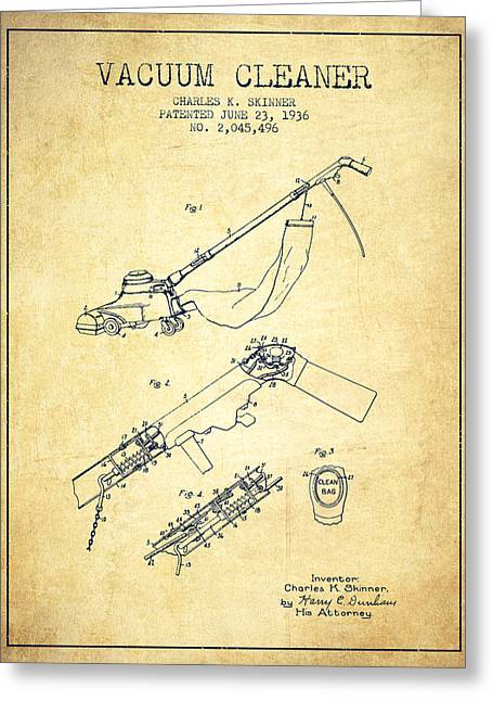 Cleaning Greeting Cards - Vacuum Cleaner patent from 1936 - Vintage Greeting Card by Aged Pixel