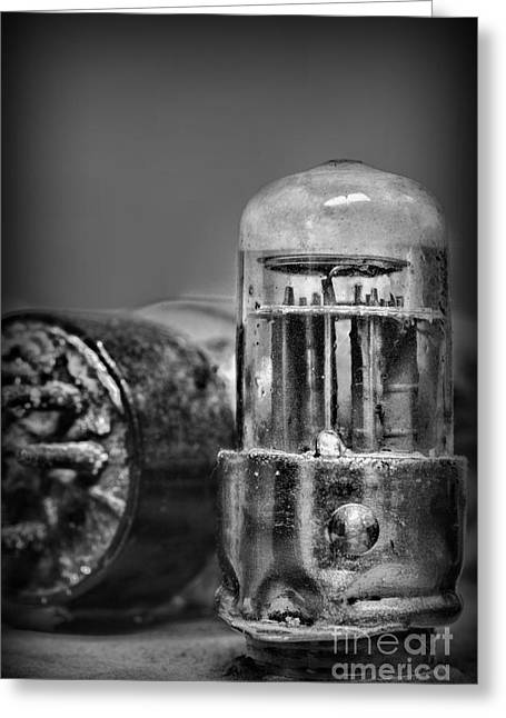 Old Tv Greeting Cards - Vacuum Tube - black and white Greeting Card by Paul Ward