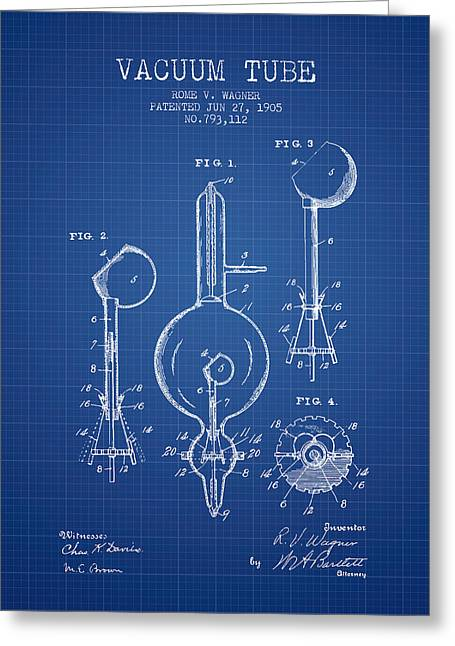 Thermionic Valve Greeting Cards - Vacuum Tube Patent From 1905 - Blueprint Greeting Card by Aged Pixel