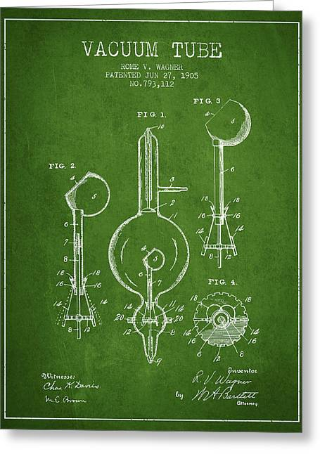 Thermionic Valve Greeting Cards - Vacuum Tube Patent From 1905 - Green Greeting Card by Aged Pixel