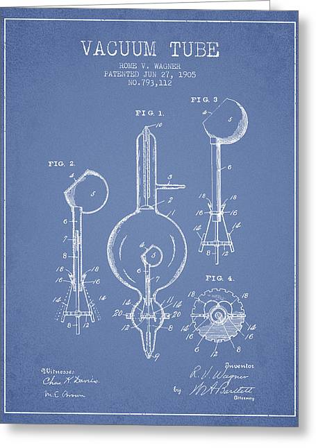 Thermionic Valve Greeting Cards - Vacuum Tube Patent From 1905 - Light Blue Greeting Card by Aged Pixel