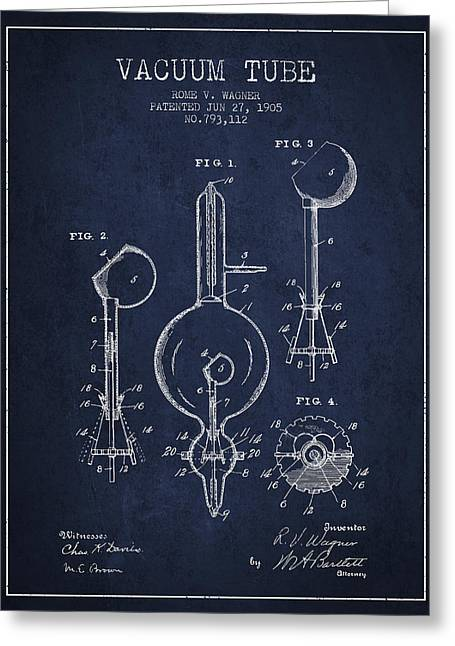 Thermionic Valve Greeting Cards - Vacuum Tube Patent From 1905 - Navy Blue Greeting Card by Aged Pixel