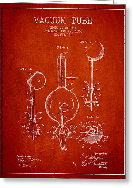 Thermionic Valve Greeting Cards - Vacuum Tube Patent From 1905 - Red Greeting Card by Aged Pixel