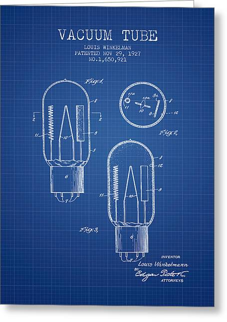 Thermionic Valve Greeting Cards - Vacuum Tube Patent From 1927 - Blueprint Greeting Card by Aged Pixel