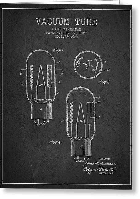 Thermionic Valve Greeting Cards - Vacuum Tube Patent From 1927 - Charcoal Greeting Card by Aged Pixel