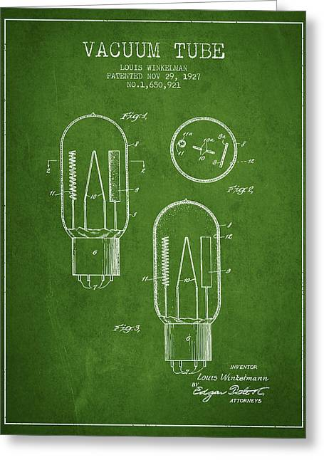 Thermionic Valve Greeting Cards - Vacuum Tube Patent From 1927 - Green Greeting Card by Aged Pixel