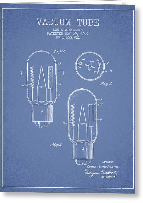 Thermionic Valve Greeting Cards - Vacuum Tube Patent From 1927 - Light Blue Greeting Card by Aged Pixel