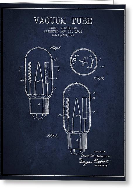 Thermionic Valve Greeting Cards - Vacuum Tube Patent From 1927 - Navy Blue Greeting Card by Aged Pixel