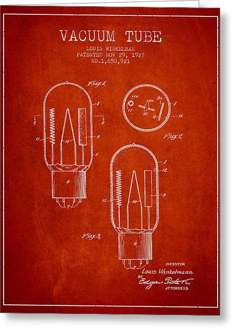 Thermionic Valve Greeting Cards - Vacuum Tube Patent From 1927 - Red Greeting Card by Aged Pixel