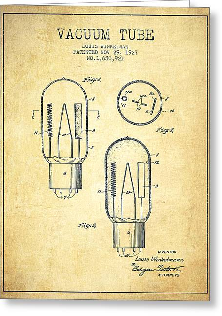 Thermionic Valve Greeting Cards - Vacuum Tube Patent From 1927 - Vintage Greeting Card by Aged Pixel