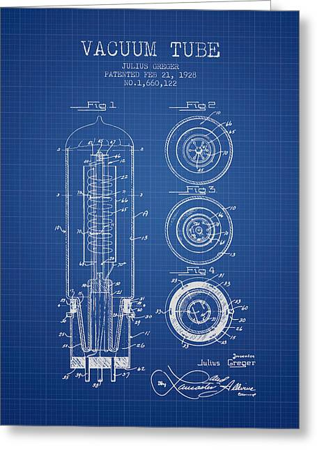 Thermionic Valve Greeting Cards - Vacuum Tube Patent From 1928 - Blueprint Greeting Card by Aged Pixel