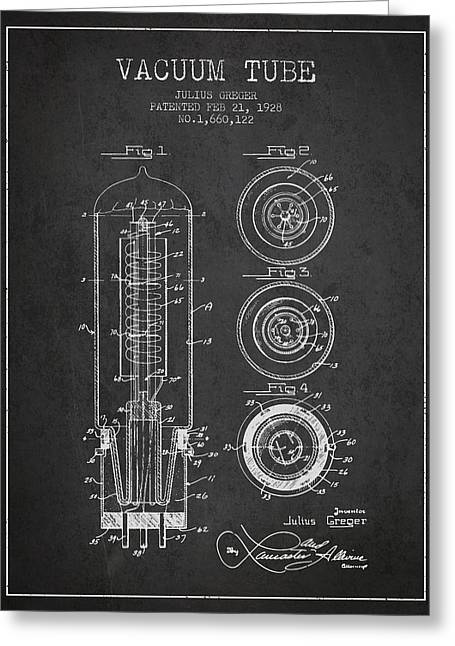 Thermionic Valve Greeting Cards - Vacuum Tube Patent From 1928 - charcoal Greeting Card by Aged Pixel