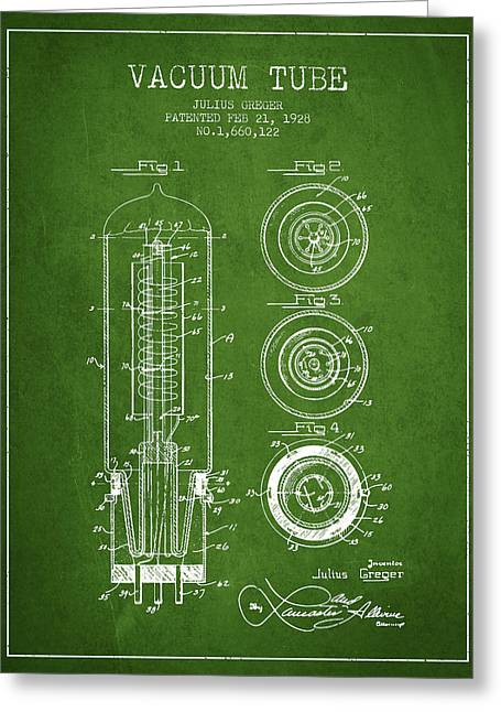 Thermionic Valve Greeting Cards - Vacuum Tube Patent From 1928 - Green Greeting Card by Aged Pixel