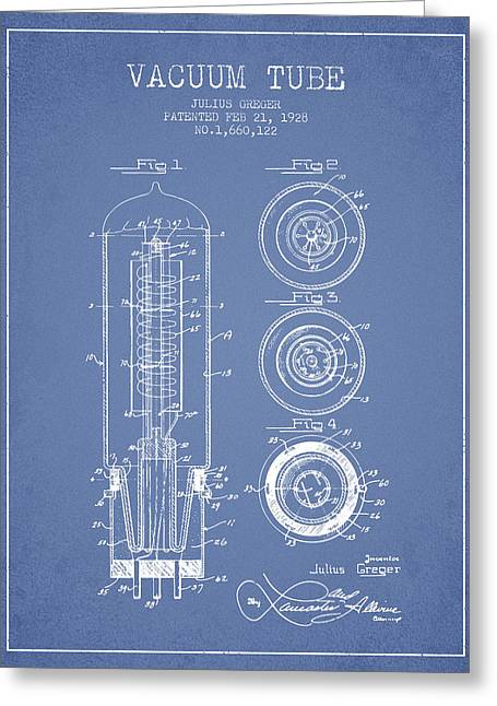 Thermionic Valve Greeting Cards - Vacuum Tube Patent From 1928 - Light Blue Greeting Card by Aged Pixel