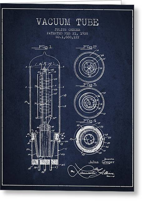 Thermionic Valve Greeting Cards - Vacuum Tube Patent From 1928 - Navy Blue Greeting Card by Aged Pixel