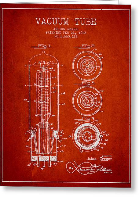 Thermionic Valve Greeting Cards - Vacuum Tube Patent From 1928 - red Greeting Card by Aged Pixel