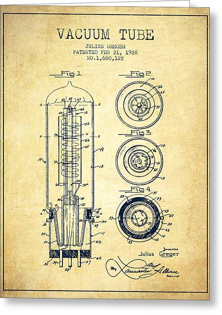 Thermionic Valve Greeting Cards - Vacuum Tube Patent From 1928 - Vintage Greeting Card by Aged Pixel