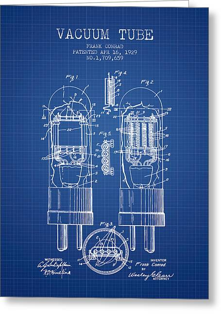 Thermionic Valve Greeting Cards - Vacuum Tube Patent From 1929 - Blueprint Greeting Card by Aged Pixel