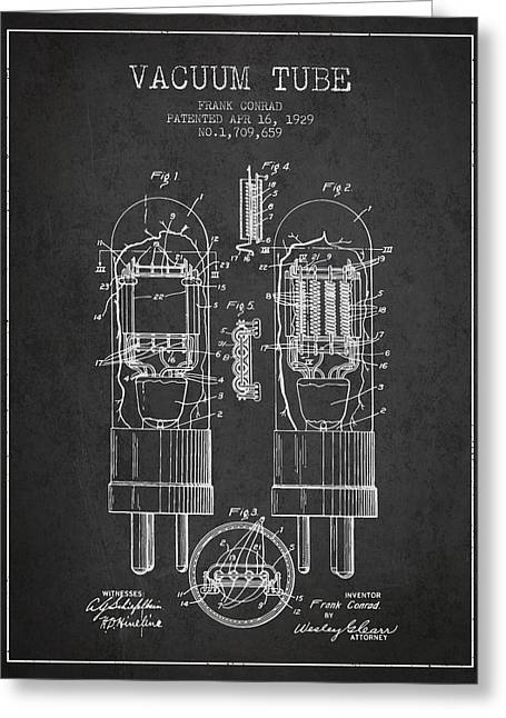 Thermionic Valve Greeting Cards - Vacuum Tube Patent From 1929 - Charcoal Greeting Card by Aged Pixel