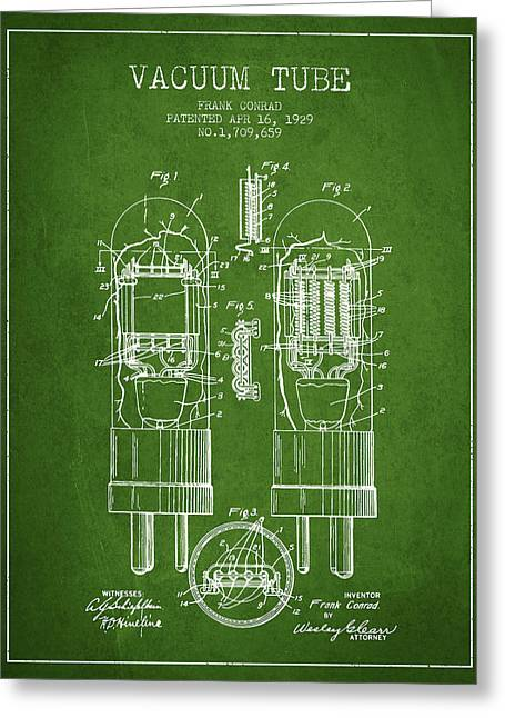 Thermionic Valve Greeting Cards - Vacuum Tube Patent From 1929 - Green Greeting Card by Aged Pixel