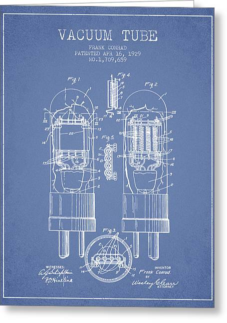 Thermionic Valve Greeting Cards - Vacuum Tube Patent From 1929 - Light Blue Greeting Card by Aged Pixel