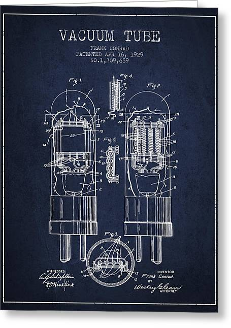 Thermionic Valve Greeting Cards - Vacuum Tube Patent From 1929 - Navy Blue Greeting Card by Aged Pixel